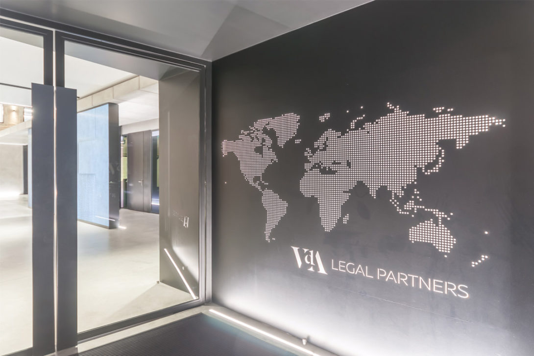 [© (c) Emanuel Jose do Carmo; The signage design responds to the distinctive architectural style of the building and its interiors, providing effective wayfinding assistance, and underlining VdA identity and brand. The proposed design also results in an overarching feel of contemporary elegance and sophistication, in line with the image of VdA.